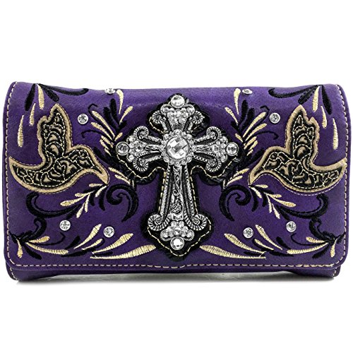 Justin West Embroidery Hummingbird Autumn Floral Design Rhinestone Cross Wristlet Trifold Wallet Attachable Long Strap (Purple)
