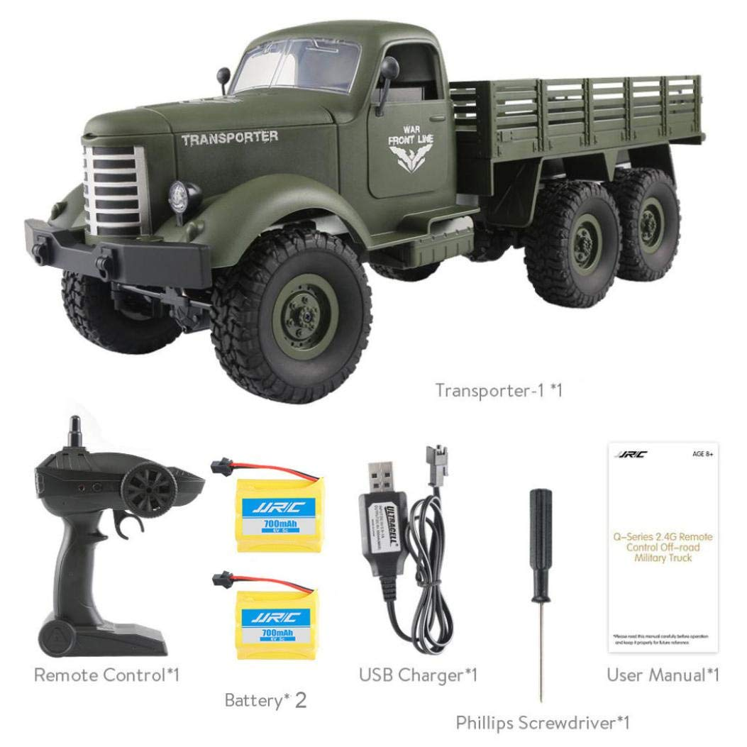Dreamyth JJRC Q60 RC 1:16 2.4G Remote Control 6WD Tracked Off-Road Military Truck Car RTR Toy + Two Battery (Green)