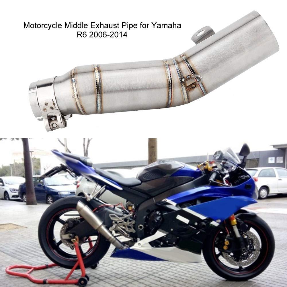 Tubo de escape 1 PC de la modificaci/ón de la motocicleta Tubo de escape del tubo intermedio de escape para Yamaha R6 2006-2014