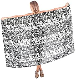 La Leela Black And White Animal Printed Beach Swim Hawaiian Sarong Cover up