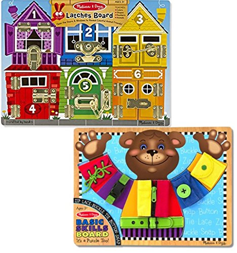 Bundle Includes 2 Items - Melissa & Doug Latches Wooden Activity Board and Melissa & Doug Basic Skills Board