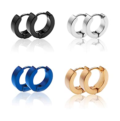 0def4200a Image Unavailable. Image not available for. Color: Hoop Earrings Huggie  Earrings for Men Women Hypoallergenic Stainless Steel ...
