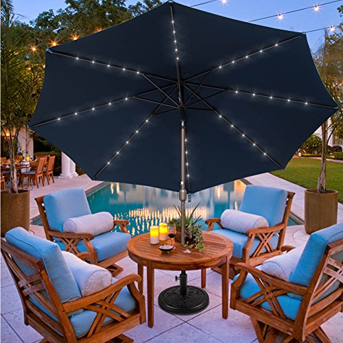 Sundale Outdoor 11FT 40 LED Lights Aluminum Patio Market Umbrella with Hand Push Tilt and Crank, Garden Pool Solar Powered Lighted Parasol, 8 Ribs, Navy (Lighted Pool)