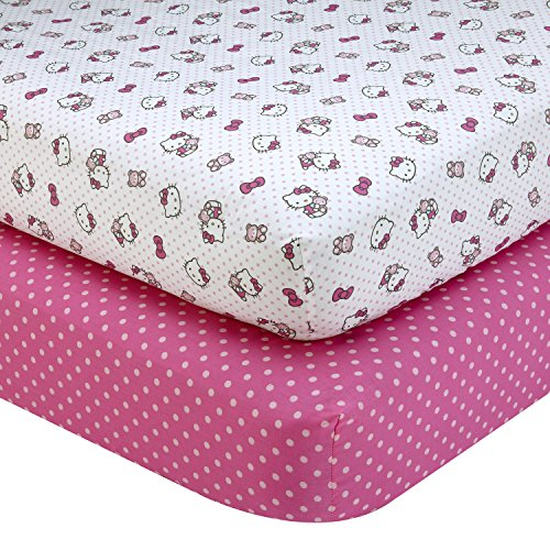 Sanrio Hello Kitty Cute as a Button 2 Piece Sheet Set, Pink/White from SANRIO