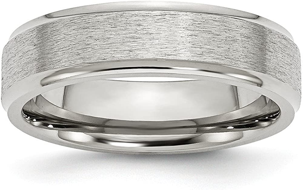 Wedding Bands Classic Bands Flat Bands w//Edge Stainless Steel Ridged Edge 6mm Satin and Polished Band Size 9