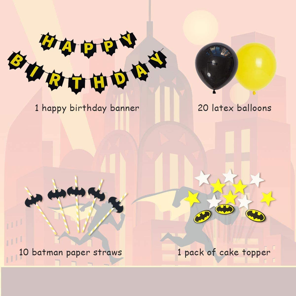Batman Birthday Party Supplies Halloween Batman Theme Happy Birthday Banner, Cake Toppers Paper Straw for Birthday Party Decorations Favors