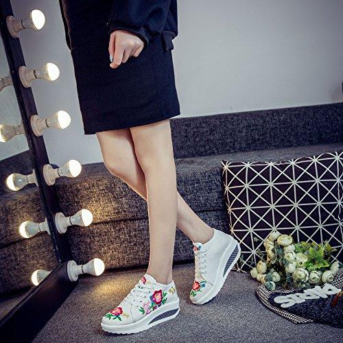 Fanwer Womenss Stoffa Ricamata Tonetm Skylar Platform Zeppa Walking Sneakers Scarpe Bianche