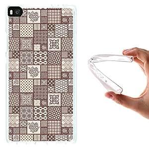 WoowCase - Funda Gel Flexible { Huawei P8 } Mosaico Abstracto Con Adornos Geometricos Y Florales Carcasa Case Silicona TPU Suave