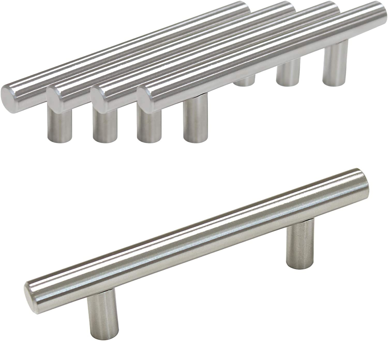 Probrico Pomo de barra en T 12/mm de di/ámetro 10 unidades acero inoxidable CC:128mm de mueble de cocina