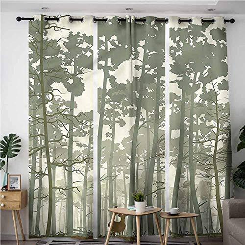 XXANS Grommet Curtains,Forest,Pine Trees Deer Motif,Blackout Window Curtain 2 - Deer Motif