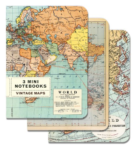 Cavallini & Co. Vintage Maps Mini Notebook - Mini Wrap Journal