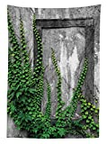 Mystic House Decor Tablecloth Ivy on Wall with Aged Antique Empty Picture Frame as Window Creative Art Dining Room Kitchen Rectangular Table Cover Green Charcoal