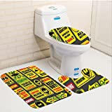 Keshia Dwete three-piece toilet seat pad customOuter Space Warning Ufo Signs with Alien Faces Heads Galactic Paranormal Activity Design Yellow