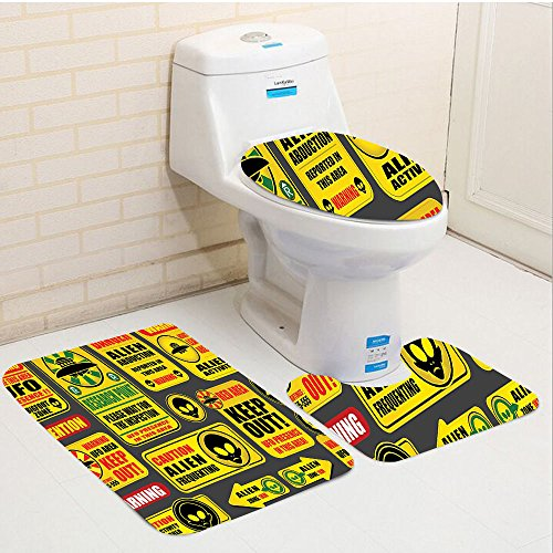 Keshia Dwete three-piece toilet seat pad customOuter Space Warning Ufo Signs with Alien Faces Heads Galactic Paranormal Activity Design Yellow by Keshia Dwete
