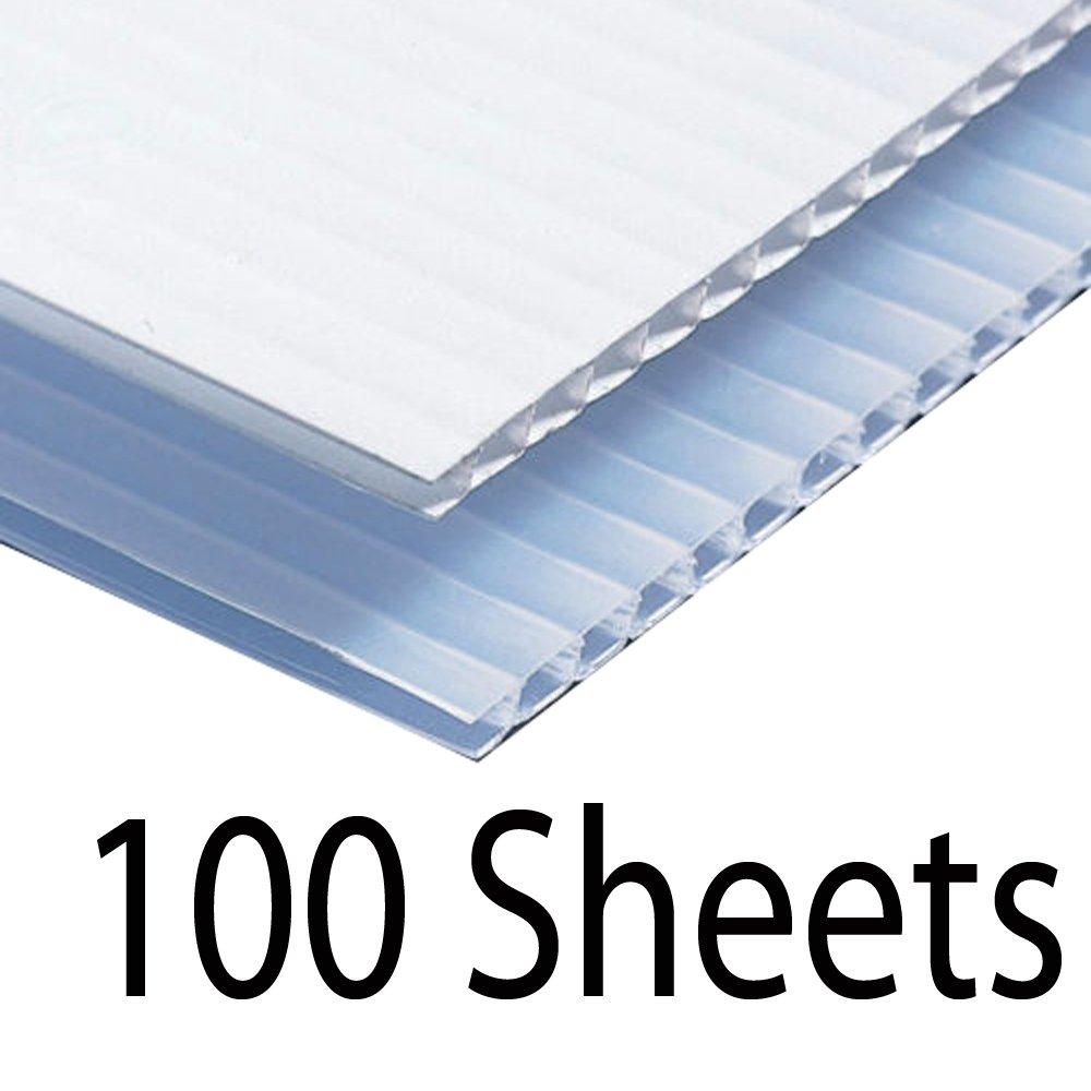 Greenstar Corrugated Plastic Cardboard Sign Blank Short Fluted 24'' x 18'' 4mm - 100 White Sheets