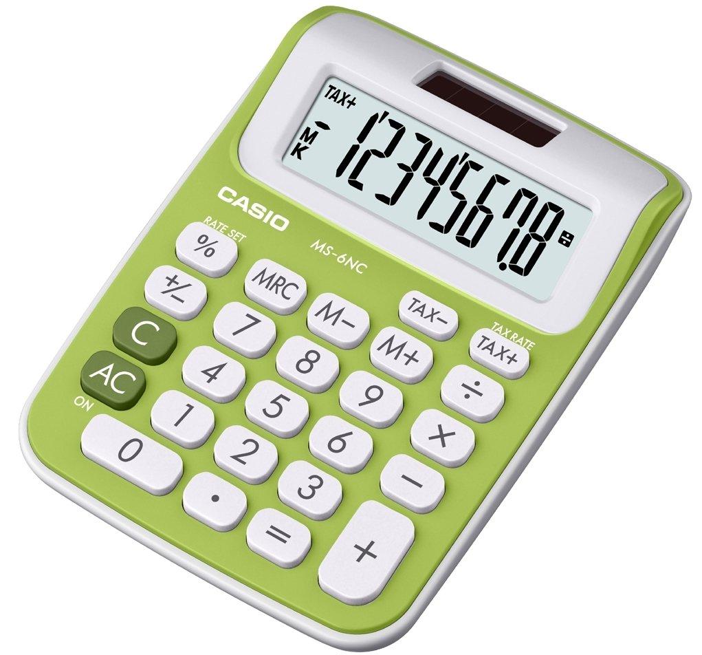 Bianco//Verde Casio MS-6NC-GN Calcolatrice da Tavolo Mini Display a 8 Cifre