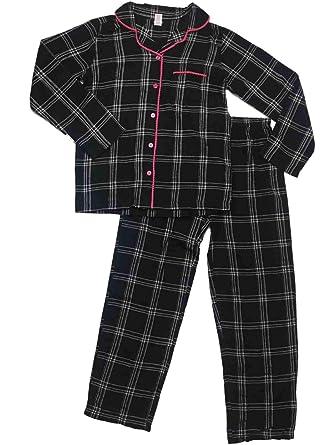 c8e7ec15bebb Womens Black Silver   Pink Tartan Plaid Flannel Pajamas Checkered ...