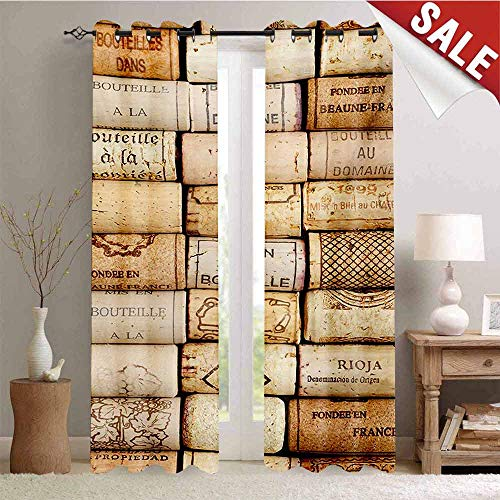 - Hengshu Winery Waterproof Window Curtain Different Wine Corks Arranged in a Line Collections French Aged Fine Wine Art Room Darkening Wide Curtains W96 x L96 Inch Ivory Pale Brown