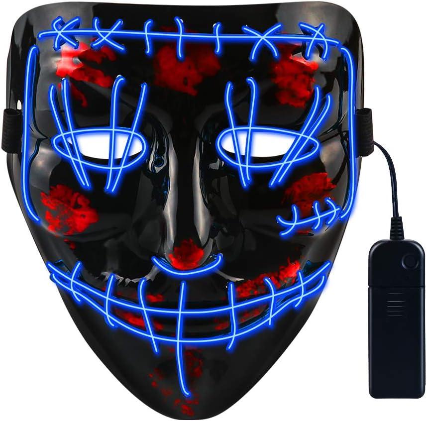 CENOVE Máscara LED Halloween, la Purga Mascara LED con 3 Modos de Iluminación, Mascara la Purga LED para Fiestas de Disfraces Cosplay Carnaval-Azul