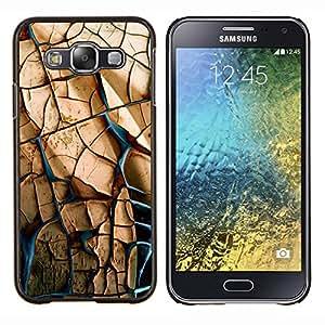 KLONGSHOP // Cubierta de piel con cierre a presión Shell trasero duro de goma Protección Caso - PARED DE PIEDRA - Samsung Galaxy E5 E500 //