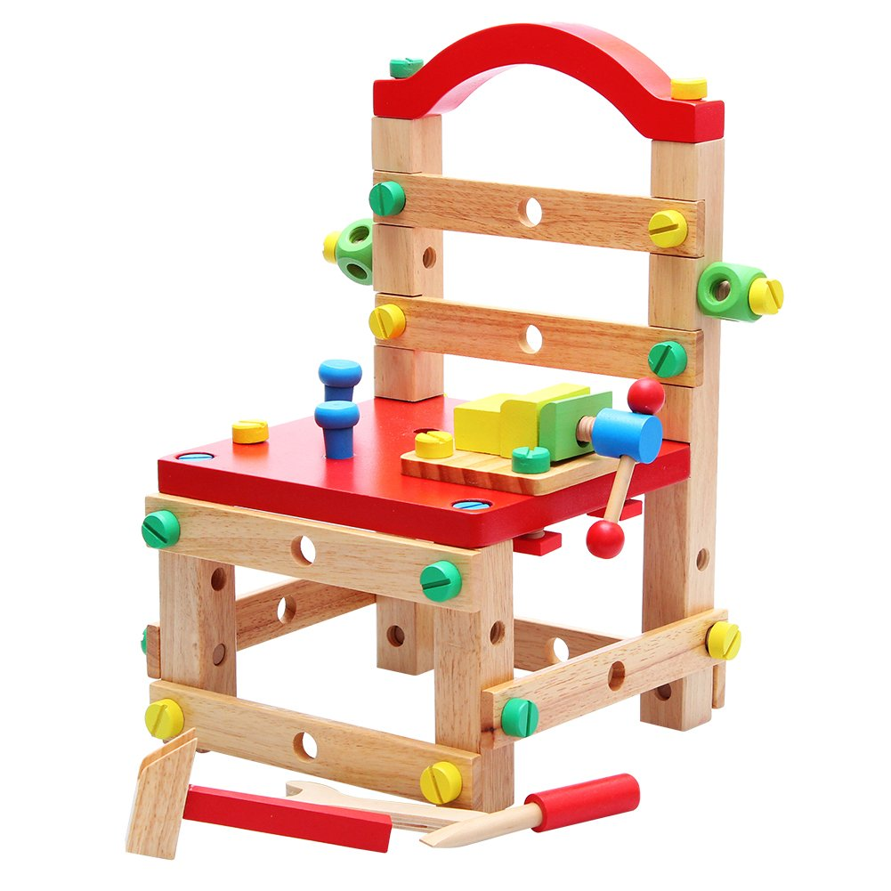 QZM DIY Wooden Screw Nuts Block Bolts Set Activity Working Chair Construction Sets Wooden Toys,Wooden Blocks Bench Chair Construction Set