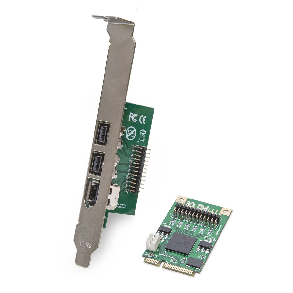 I/O Crest 2 Port 1394B FireWire800 and 1 Port Firewire400 1394A to Mini PCIe Controller Card Components (SI-MPE30018)