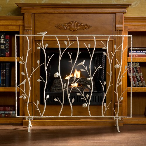 SEI Bird and Branch Antique White Fireplace Screen