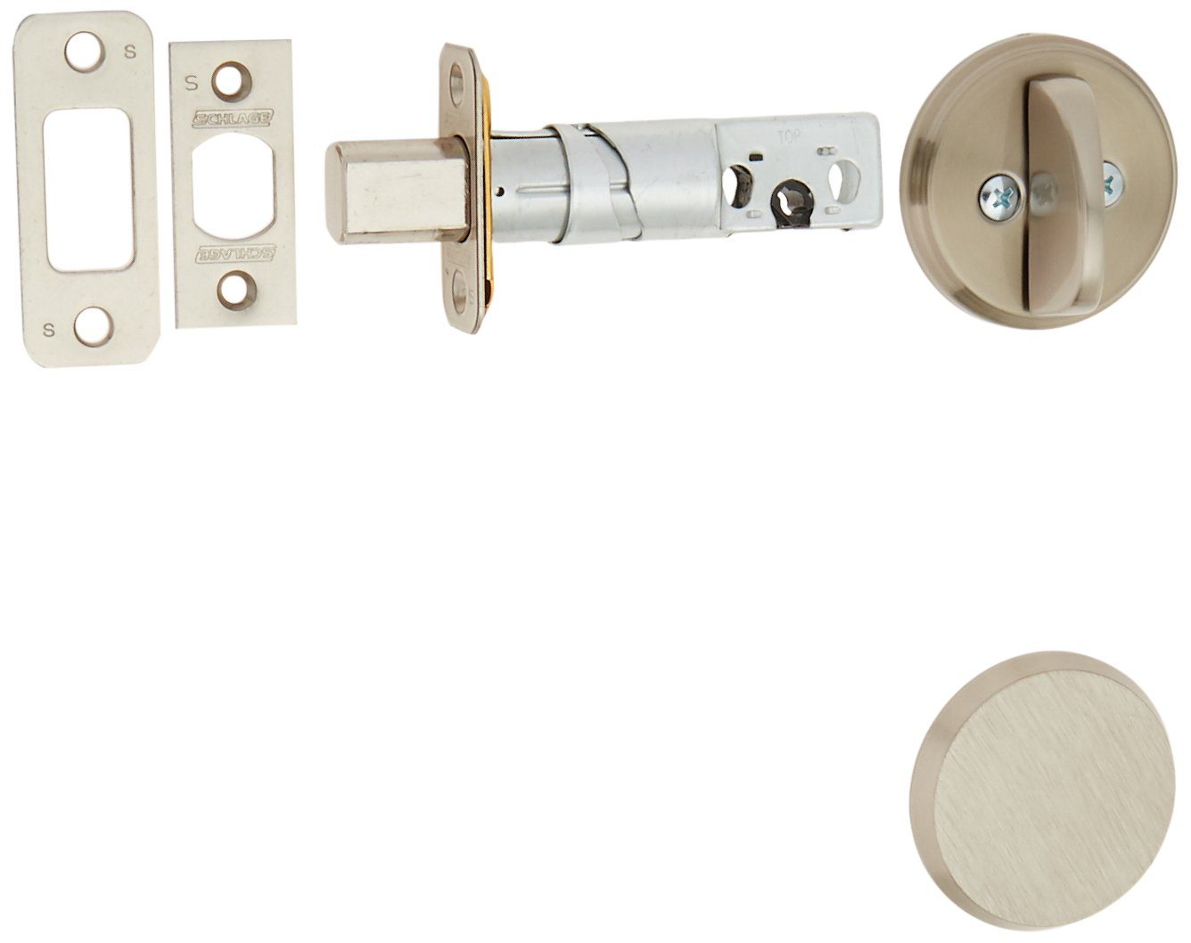 Schlage B81619 Satin Nickel Single Sided Residential Deadbolt with Thumbturn and Outside Trim Plate from the B-Series