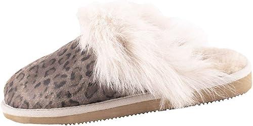 Shepherd of Sweden Womens Sheepskin Slippers in Brown Leopard Print