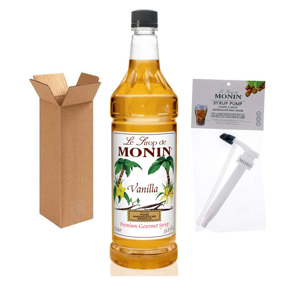 Monin - Vanilla Syrup with Monin BPA Free Pump, Boxed, Versatile Flavor, Great for Coffee, Shakes, and Cocktails, Gluten-Free, Vegan, Non-GMO (1 Liter)