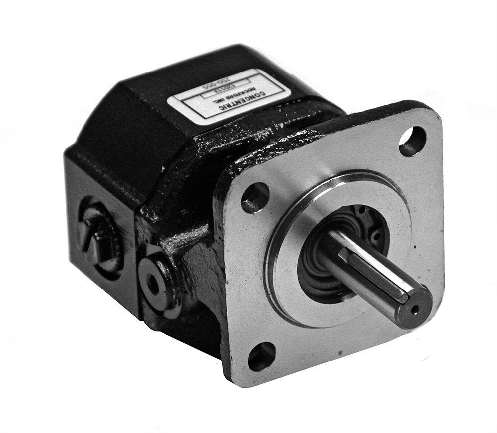 Concentric/Haldex GC Series Gear Pump: 0.194 CID, 1.5 GPM @ 1800 RPM and 3 GPM @ 3600 RPM, 4000 Max RPM, 3000 PSI With SAE #8 Port Size, 4-Bolt (1.78'' Dia pilot) Mounting, Dual Rotation, 250058