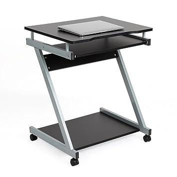 HOMFA Ordenador de escritorio con 4 ruedas movibles, teclado deslizante, estante de pc,