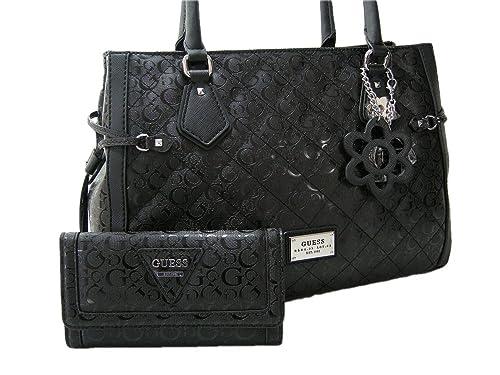 a1277c47612 New Guess G Logo Satchel Hand Bag   Matching 2 Piece Wallet Set Black Star  City  Amazon.ca  Shoes   Handbags