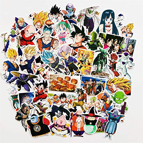 Dragon Ball Z Laptop Stickers 50Pcs Anime Waterproof Stickers for Skateboard Luggage Helmet Guitar Motorcycle Bicycle Mac Computer Phone DIY Keyboard (1) (Dragon Ball Z Personality)