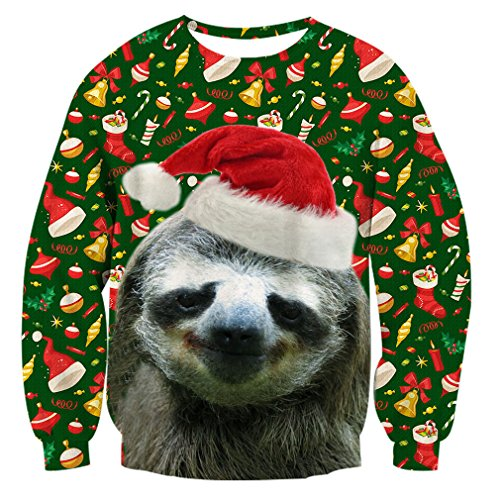 RAISEVERN Unisex Ugly Christmas Sloth Decoration Print Graphic Xmas Pullover Sweater Sweatshirt For Womens Mens, 2017 Style Christmas Sloth 2, XX-Large ()