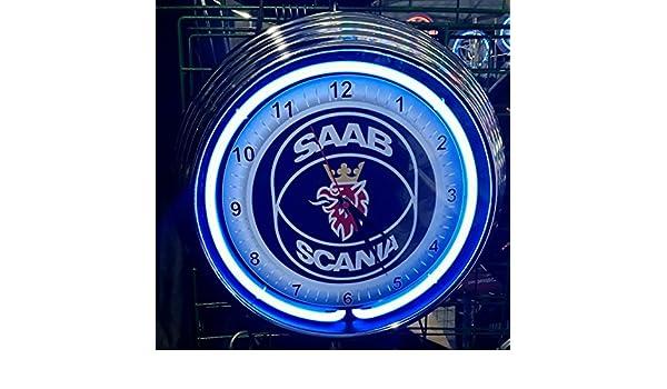 Neon reloj - Saab Scania Garage - Neon Azul - Taller Reloj de pared - Neon Reklame - Estados Unidos 50 s Style: Amazon.es: Bricolaje y herramientas