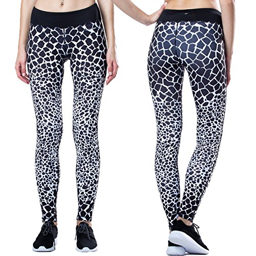 Hopeforth Women's Yoga Pants Running Workout Gym Leggings Not See-through Fabric (S, Black/White)