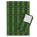 Roostery Fractal Tea Towels Green Fractal Stripes in Mirror Repeat by Anniedeb Set of 2 Linen Cotton Tea Towels