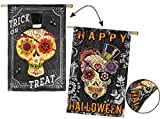 Cheap Evergreen Suede Sugar Skulls Double-Sided House Flag, 29 x 43 inches