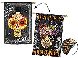 Evergreen Suede Sugar Skulls Double-Sided House Flag, 29 x 43 inches