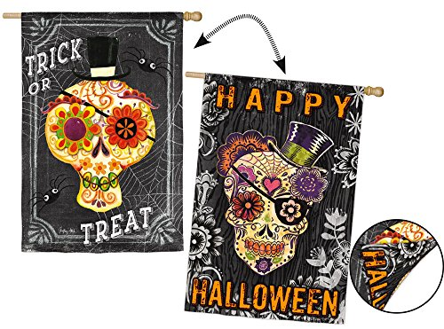 Evergreen Suede Sugar Skulls Double-Sided House Flag, 29 x 43 inches ()