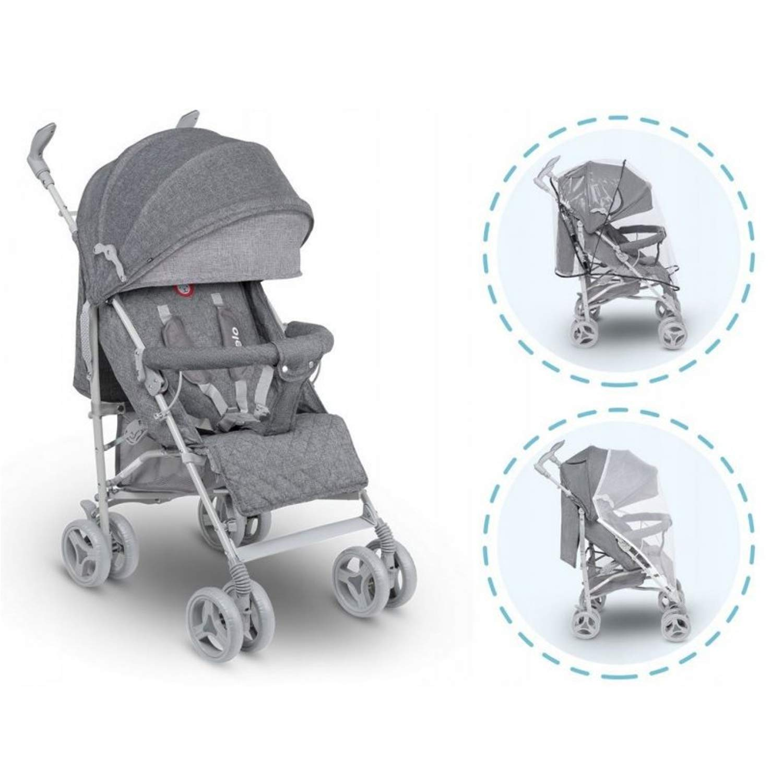 Lionelo Irma Folding Stroller with Backrest Adjustment 6 Inch Wheels Gray