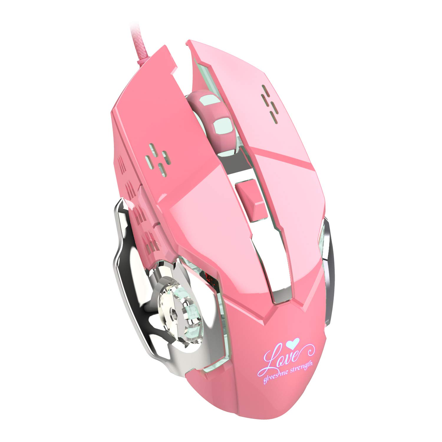 Gaming Mouse Wired, 6 Buttons, Chroma RGB Backlit, 3200 DPI Adjustable, Comfortable Grip Ergonomic Optical PC Computer USB Gaming Mice Pink