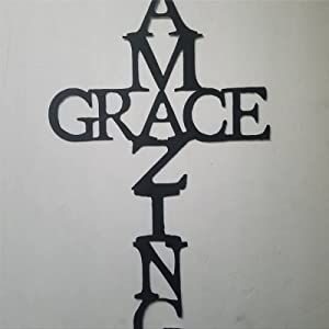 Amazing Grace Cross Metal Sign,Welcome Door Hanger,Personalized Metal Wall Hanging Sign,Rustic Vintage Farmhouse Decor for Front Porch Home Garden Bar Store Gate Housewarming Wedding Anniversary