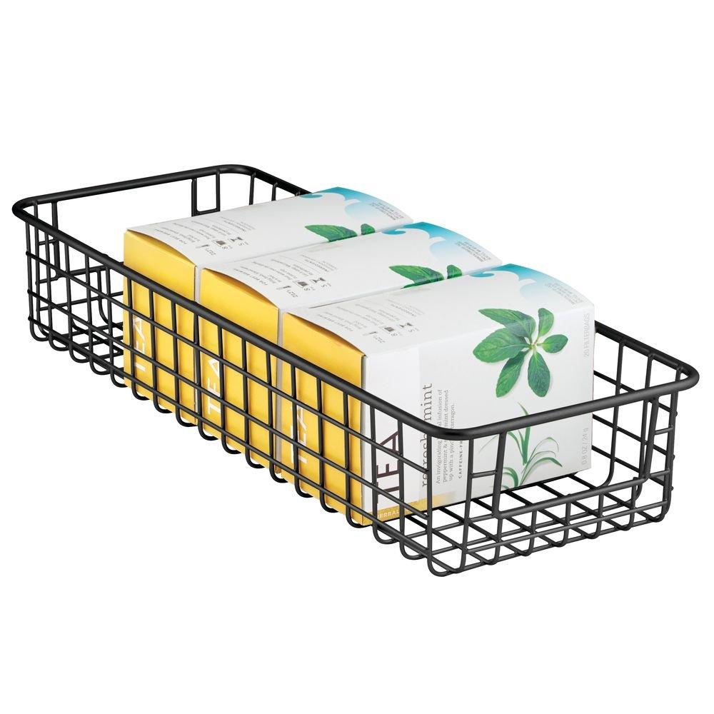 Cestas organizadoras de alambre de metal con asas mDesign Juego de 2 cestas de almacenaje multiuso Cestas met/álicas resistentes y compactas para cocina bronce despensa y otros cuartos