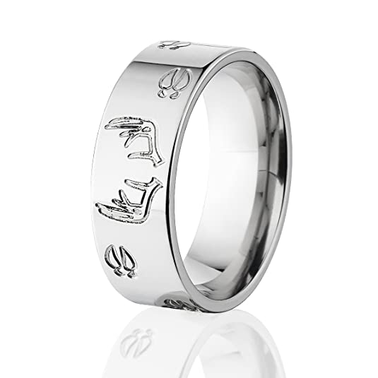 Perfect Deer Track Ring w/ Deer Antlers Titanium Ring, Outdoor Jewelry  YP74