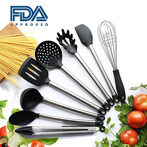 Kitchen Utensil Set 9 Pieces Kitchen Utensils,Nonstick Cooking Spatulas,Silicone & Stainless Steel Kit for Pots & Pans,Serving Tongs, Spoon, Spatula Tools, Pasta Server, Ladle, Strainer, Whisk