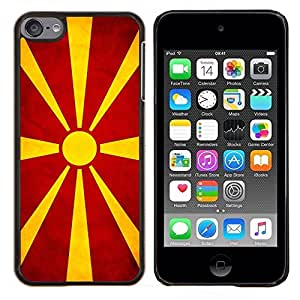 EJOOY---Cubierta de la caja de protección para la piel dura ** Apple iPod Touch 6 6th Touch6 ** --Nacional bandera de la nación País macedonio