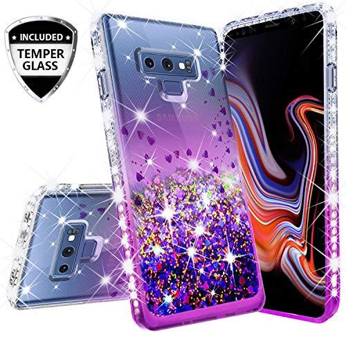 (Compatible for Samsung Galaxy Note 9 Case, with [Temper Glass Screen Protector] SOGA Diamond Glitter Liquid Quicksand Cover Cute Girl Women Phone Case [Clear/Purple])