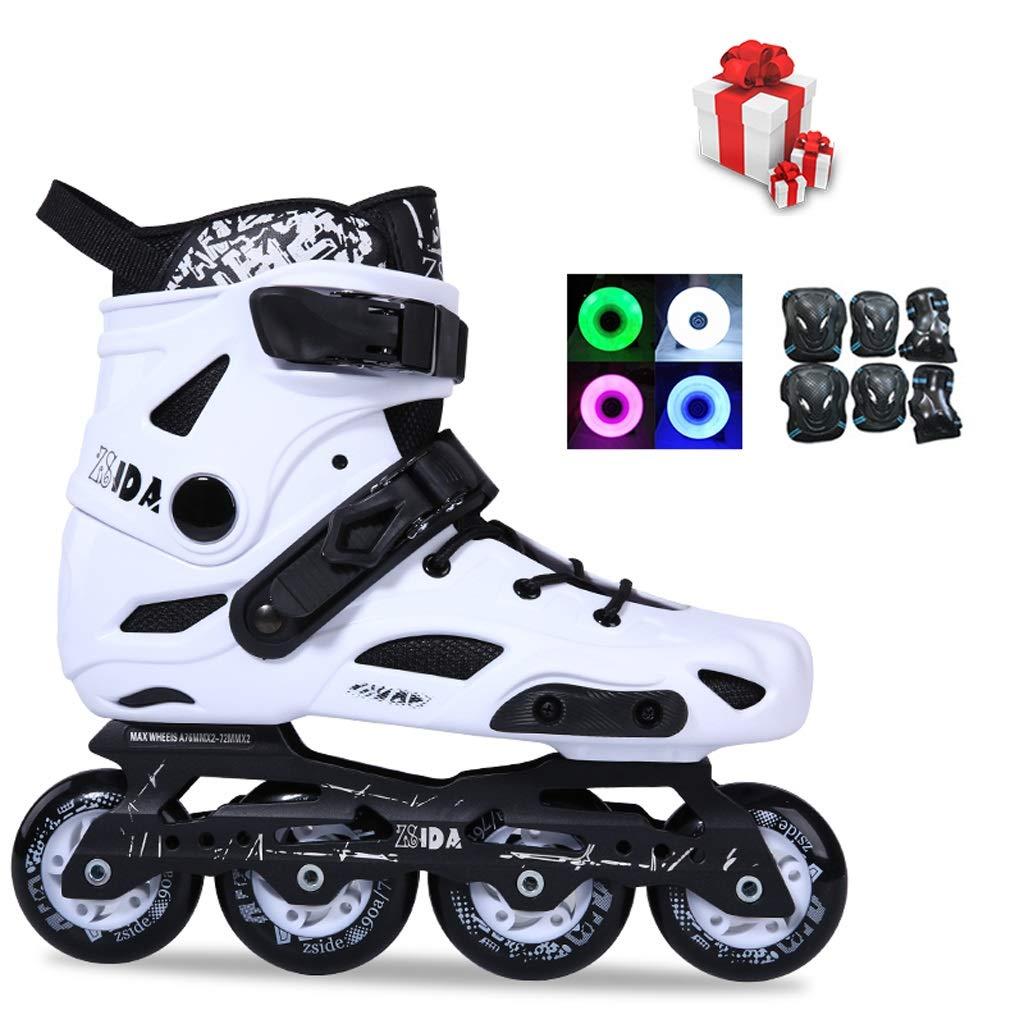 プロのインラインスケート、フラッシュの男性と女性のローラースケート、サイレントベアリングのファッションスケート、35-46ヤード2色 (Color : 白い, Size : EU 39/US 7/UK 6/JP 24.5cm) 白い EU 39/US 7/UK 6/JP 24.5cm